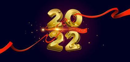 ilustração vetorial feliz ano novo 2022 números dourados vetor