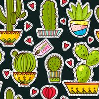 Definir patches de moda, broches com cactos