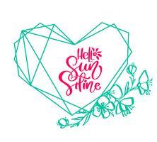 Cartão de elemento de design verde vetor flor com texto Olá sol