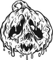ilustrações de silhueta de derretimento de jack o lantern vetor