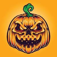 ilustrações vetoriais de sorriso assustador de abóbora de halloween vetor
