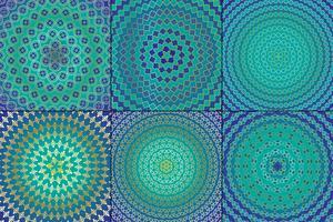 Padrões circulares marroquinos azuis e dourados