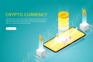 negocie bitcoin via smartphone. vetor