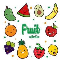 definir coleção de fruta fofa doodle clip art icon ilustração vetor