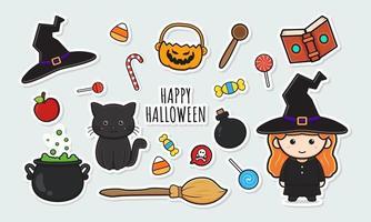 definir coleção de adesivos de bruxa fofa de halloween com doodle de objeto vetor