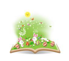ovo de Páscoa primavera com dente de leão no livro vetor