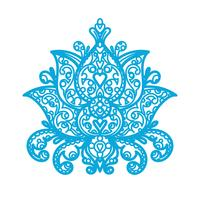Ornamento Lotus - corte a laser de madeira vetor