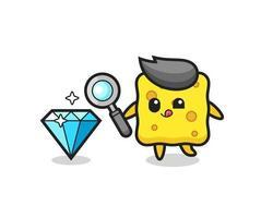 mascote da esponja está verificando a autenticidade de um diamante vetor