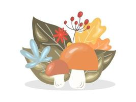 cogumelos com folhas de outono e grãos. conceito de ação de graças vetor