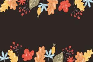fundo de outono com folhas e grãos vetor