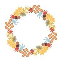 moldura redonda com folhas de outono, grinalda do dia de ação de graças vetor