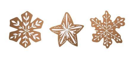 conjunto de biscoitos de Natal. sobremesa doce para o feriado vetor