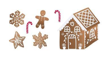 pacote de biscoitos de Natal. sobremesa doce para o feriado. vetor