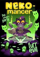 gata bruxa levantando o gato morto, gata necromante festa de halloween vetor