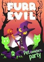 ilustração em vetor dia das bruxas gato malvado e fofo peludo