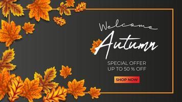 outono promo venda ilustração vetorial fundo preto vetor