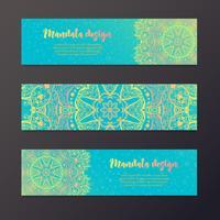 Bandeira de mandala, estilo indiano. vetor