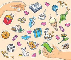 mãos com kawaii e ilustração de doodle de ícone fofo vetor