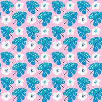 Vector verão sem costura padrão com flores planas e folhas tropicais