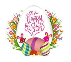 ovos de páscoa flor fundo colorido