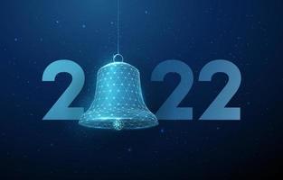 cartão abstrato feliz ano novo de 2022 com sino vetor
