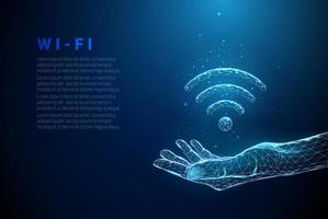 azul abstrato dando a mão com o símbolo wi-fi vetor