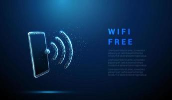 abstrato azul celular com símbolo de wi-fi. vetor