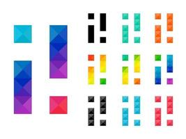 conjunto de alfabeto colorido i e ícone de ponto de exclamação vetor