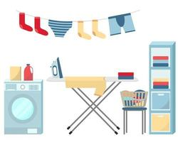 lavar e passar roupas conjunto de vetores de itens de lavanderia