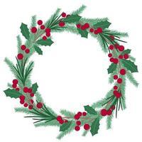 rodada guirlanda de Natal de ramos de abeto, bagas e folhas vetor