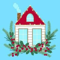 casa de inverno decorada com ramos de pinheiro, bagas e luzes vetor