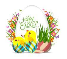 Feliz Páscoa saudação fundo vetor