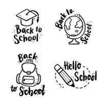 de volta à escola desenhado à mão vetor