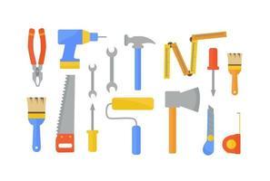 conjunto plano de ferramentas de trabalho para construir e renovar uma casa. vetor