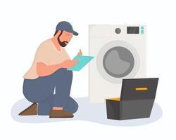 um encanador está consertando uma máquina de lavar. vetor