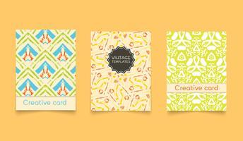 Cartões criativos étnicos de modelo. vetor