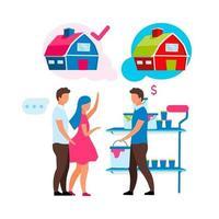 assistente de loja ajudando clientes personagens vetoriais de cor semi-plana vetor
