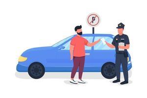 policial dando estacionamento personagens vetoriais de cores semi-planas vetor