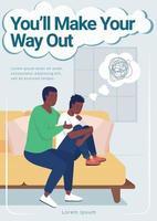 modelo de vetor plano de pôster de saúde mental adolescente