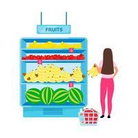 mulher comprando frutas em uma mercearia personagem de vetor de cor semi plana