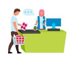 caixa digitalizando produtos do cliente caracteres vetoriais de cor semi-plana vetor