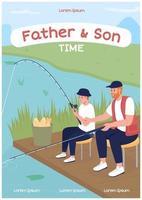 modelo de vetor plano de cartaz de pesca pai e filho