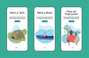 aprender a pescar modelo de vetor plano de tela de aplicativo móvel onboarding