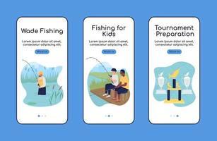 viagem de acampamento com modelo plano de tela de aplicativo móvel onboarding de pesca vetor