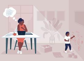 ilustração em vetor cor lisa, mãe trabalhadora e estresse