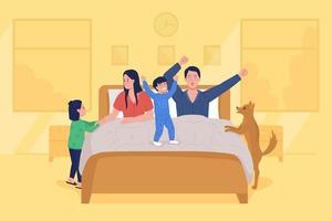 crianças acordam pais ilustração vetorial de cor lisa vetor
