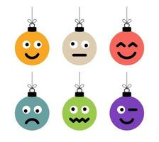 conjunto de bolas coloridas de natal com cara fofa vetor