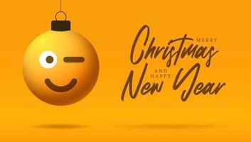cartão de feliz natal com rosto sorridente emoji vetor