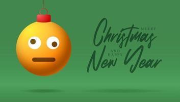 cartão de feliz natal com rosto de emoji de sorriso confuso e tonto vetor