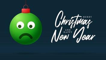 cartão de feliz natal com cara de emoji triste vetor